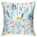 huanchen Blumen werfen Kissenbezug, Kissenbezug Quadratische Kissenbezug für Sofa Couch Auto Bett Home Dekorative 18 'x 18' Zoll