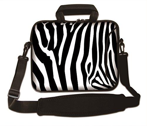 Luxburg® Design Laptoptasche Notebooktasche Sleeve mit Schultergurt & Fach für 17,3 Zoll, Motiv: Zebra