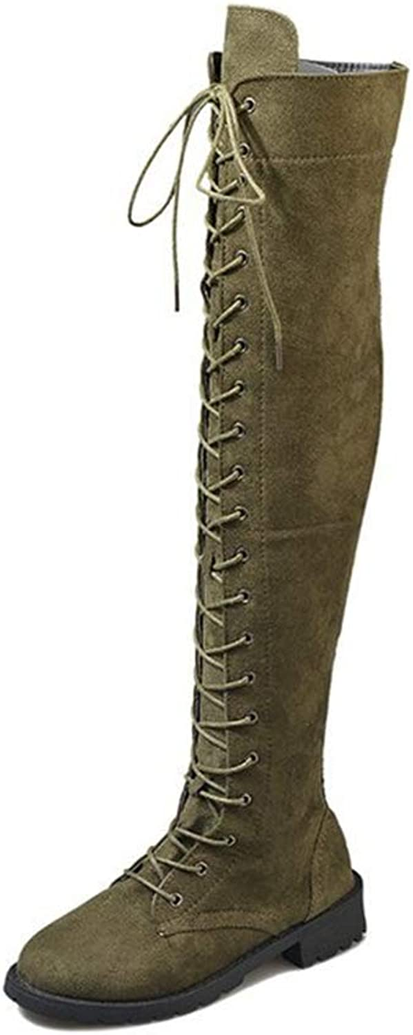 YUBUKE Women's Knee High Faux Leather Boots Twisted Rider Fashion Boots