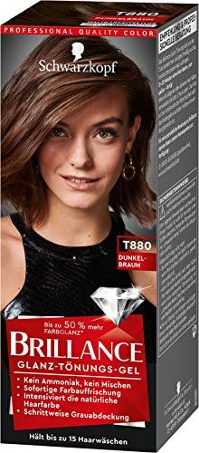 Brillance Glanz-Tönungsgel, Haarfarbe T880 Dunkelbraun Stufe 1, 3er Pack(3 x 60 ml)