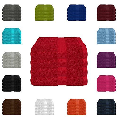 4 tlg. Handtuch-Set in vielen Farben - 4 Handtücher 50x100 cm - Farbe rot