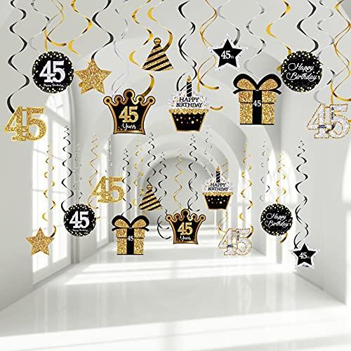 Décors de Fête du 45e Anniversaire Décorations de Plafond Tourbillons Suspendus d'Anniversaire Tourbillons en Aluminium Brillants Découpes de Cartes 45e pour Fête d'Anniversaire de 45 Ans