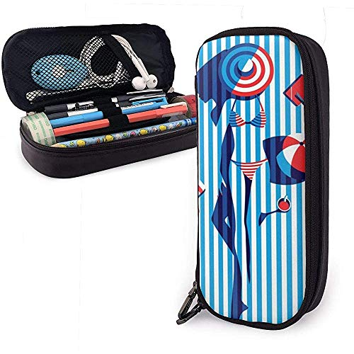 Gestreepte Bikini Meisje Kunst Schilderen Potlood Case briefpapier Organizer Multifunctionele Make-up Tas Leer