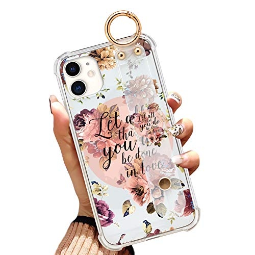Illians iPhone 11 6.1 Inch 2019 Clear Anti-Yellow Slim Phone Case Gasbag Full Protective Cover Christian Quotes Bible Verse Flower Floral Shell with Wrist Strap for iPhone 11