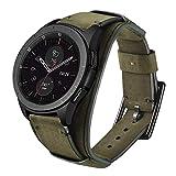 Leotop Correa Compatible con Samsung Galaxy Watch 46mm/Gear S3 Frontier/Classic, 22mm Vintage Pulsera de Cuero Genuino Reemplazo Banda de Bucle Acero Inoxidable para Mujeres Hombres (22 mm, Verde)
