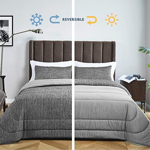 Bedsure Grey Queen Comforter Set, Reversible Warm&Cooling Comforter...