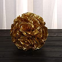 MOCCIYU Artificial Silk Flowers Fake Flowers Pomander Kissing Ball Wedding Home Decoration,Pack of 1 (Gold)