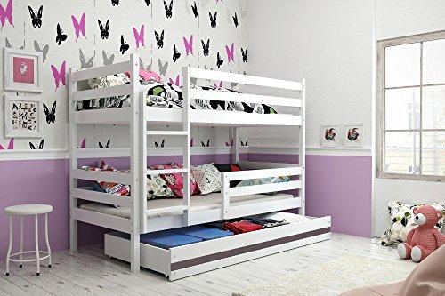 Interbeds Etagenbett Hochbett Eryk 160x80cm Farbe: WEIß, mit Lattenroste und Matratzen (weiß + graue Schublade)
