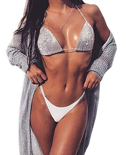 Linlinjoy Women's Sexy Spaghetti Strap Halter Sleeveless Rhinestone Bling 2 pcs Beach Bikini white M
