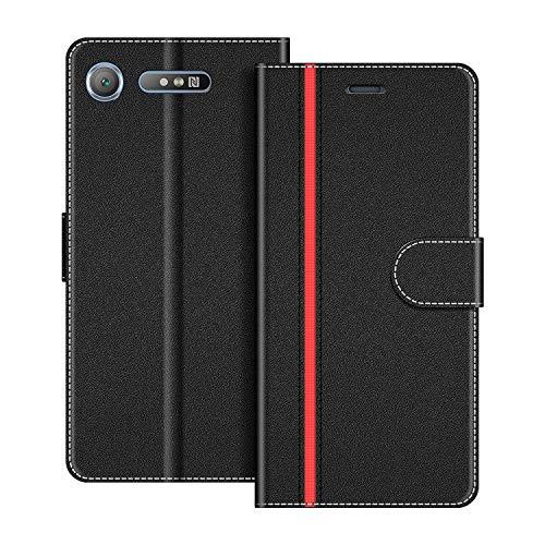 COODIO Handyhülle für Sony Xperia XZ1 Handy Hülle, Sony Xperia XZ1 Hülle Leder Handytasche für Sony Xperia XZ1 Klapphülle Tasche, Schwarz/Rot