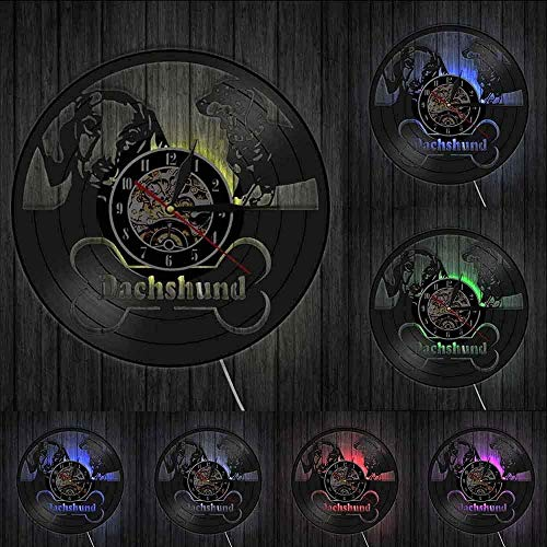 hxjie Dackel Hund Wanduhr Wiener Hund Vinyl Schallplatte Wanduhr Retro Dackel Welpe Moderne Dekoration Wanduhr Hunderasse