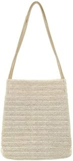 New Straw bag Casual Handbag Summer Holiday Shoulder Bag Ladies Weaving Bucket Beach,White,M