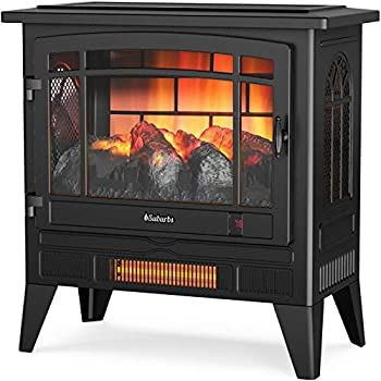 TURBRO Suburbs TS25 Electric Fireplace Infrared Heater - Freestanding Fireplace Stove with Adjustable Flame Effects Overheating Protection Timer Remote Control - 25  1400W Black