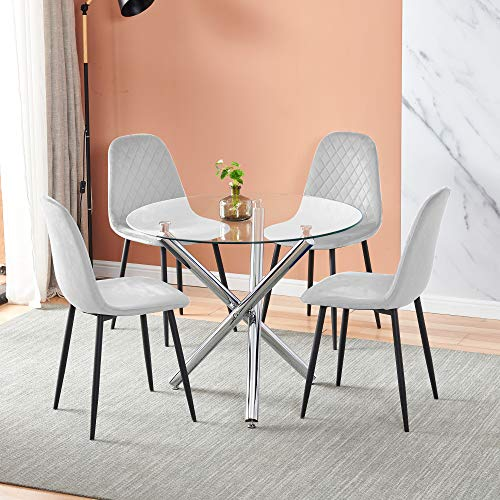 Huisenuk 5 Pieces Round Clear Glass Dining Table and Silver Grey Chairs Set for 4 People Small Space, Modern Kitchen Dinette Table with Chairs Set of 4 for Restaurant Party Office Conversational