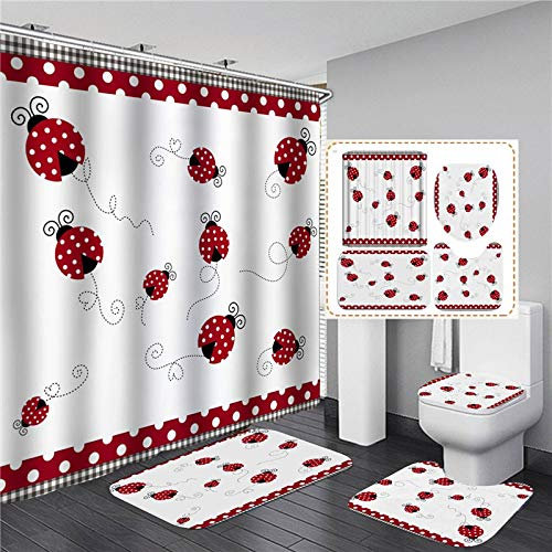 ZHEXI Cortina de Ducha de poliéster con Estampado de Mariquita de Siete Estrellas Cortinas de Ducha con Ganchos alfombras de baño Antideslizantes baño 4 Piezas decoración de WC