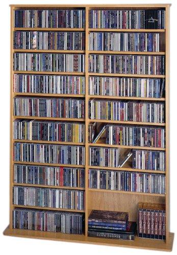 Leslie Dame High Capacity Oak Veneer Multimedia Storage Rack, Oak