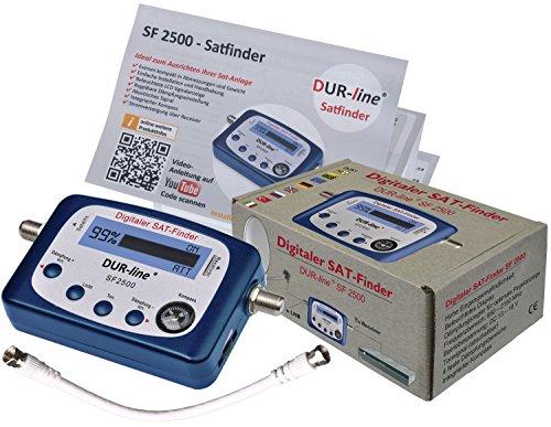 DUR-line® SF2500 - Sat Finder - Digitales Satellitenmessgerät zur exakten Justierung Ihrer Satelliten-Antennen - inkl. F-Verbindugskabel + durchdachter deutsche Anleitung