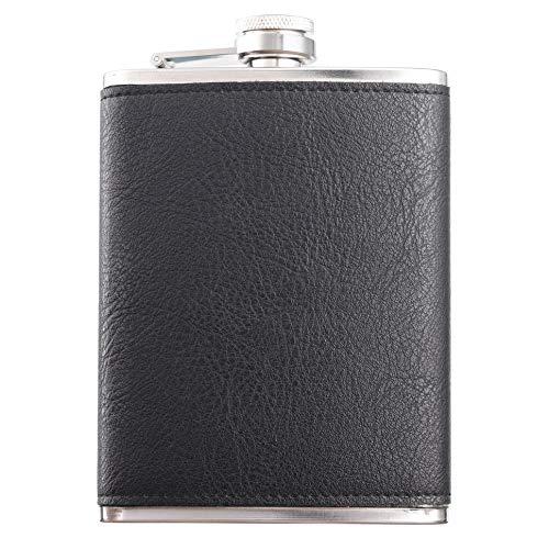 Heesung Edelstahl-Flachmann mit schwarzem Leder, Whiskey-Flachmann und Likör-Flachmann, 237 ml, Metall-Flachmann mit Schraubverschluss