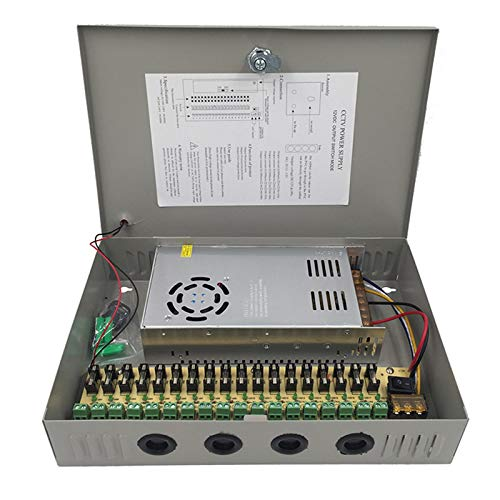 30A 360W CCTV Power Supply 18 Channel Port Box, Distributed Power Supply Output AC to DC 12V 30 Amp 360 Watt, for LED CCTV DVR Security System and Cameras
