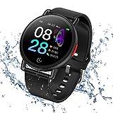 Smartwatch Pulsera Actividad Inteligente Reloj de Fitness Tracker Impermeable IP68 con Podómetro Pulsómetro Monitor de Sueño para Hombre Mujer Niños con iOS y Android (Negro)