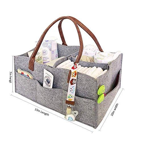 Baby Diaper Caddy, pieghevole, contenitore in feltro nursery basket salviette da sostituibile con scomparti per mamma bambini auto da viaggio, grigio