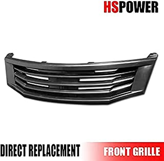 HS Power Black Front Grill MU Style Badgeless Front Hood Bumper Grille 2008-2010 for Honda Accord 4DR