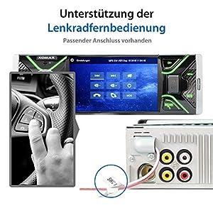 """XOMAX XM-V417 Autoradio mit 4.1"""" / 10 cm Bildschirm I Bluetooth Freisprecheinrichtung I USB, SD, AUX I RDS I Anschlüsse für Rückfahrkamera und Lenkradfernbedienung I 7 Beleuchtungsfarben I 1 DIN"""