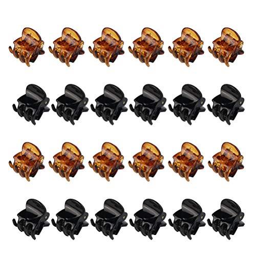Jerbro 24 Pezzi Mini Mollettoni Capelli Clip Accessori per Capelli in Plastica Pinze Grips per Artigli per Capelli per Ragazze e Donne - Nero e Marrone