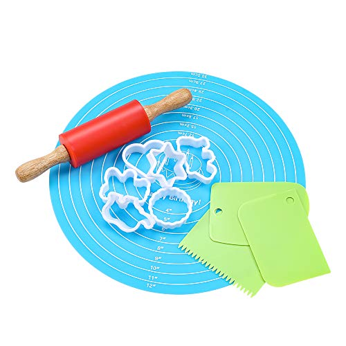 Non-Stick Rolling Pin and Pastry Mat Set: Mini Silicone Dough Rollers for Baking, Non-Slip Mat with Measurements, and Cookie Cutters - For Tortilla, Pizza and More