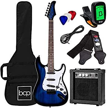 Best Choice Products 39in Full Size Beginner Electric Guitar Starter Kit w/Case Strap 10W Amp Strings Pick Tremolo Bar - Hollywood Blue