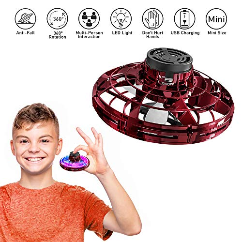 VEEAPE Mini Kreisel Loop Flug und Rückflug, FlyNova interaktives Dekompressionsspielzeug, 360 ° Rotation und Beleuchtung LED Lichter, Freikurs Kreisel Mini Fingerspitzen Kreisel Flugspielzeug