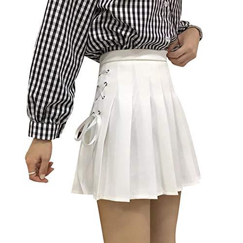 IBAKOM Women's Girls High Waisted Pleated Mini Skirt Schoolgirl Uniform Outfits Side Tie Solid Flared Short Tennis Skater Skirt White Medium