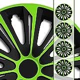 Eight Tec Handelsagentur (Größe und Farbe wählbar!) 16 Zoll Radkappen/Radzierblenden STR/6 GRÜN (Farbe Schwarz-Grün), passend für Fast alle Fahrzeugtypen (universell) – nur beim...