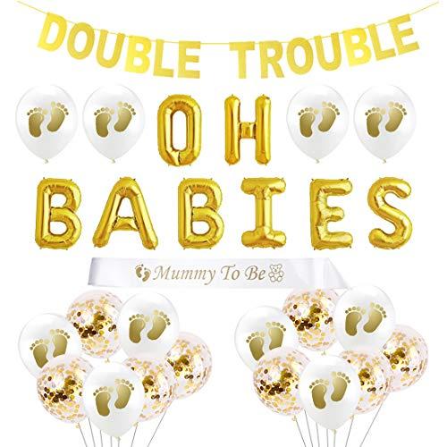 JOYMEMO Zwillinge Baby-Dusche-Dekorationen OH Babys Ballons Double Trouble Banner Mutter für Zwillinge Baby Geschlecht Sein offenbaren Party Supplies
