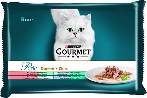 PURINA Gourmet Perle Duetto - Comida húmeda para Gatos (12 Paquetes de 4 Bolsas de 85 g)