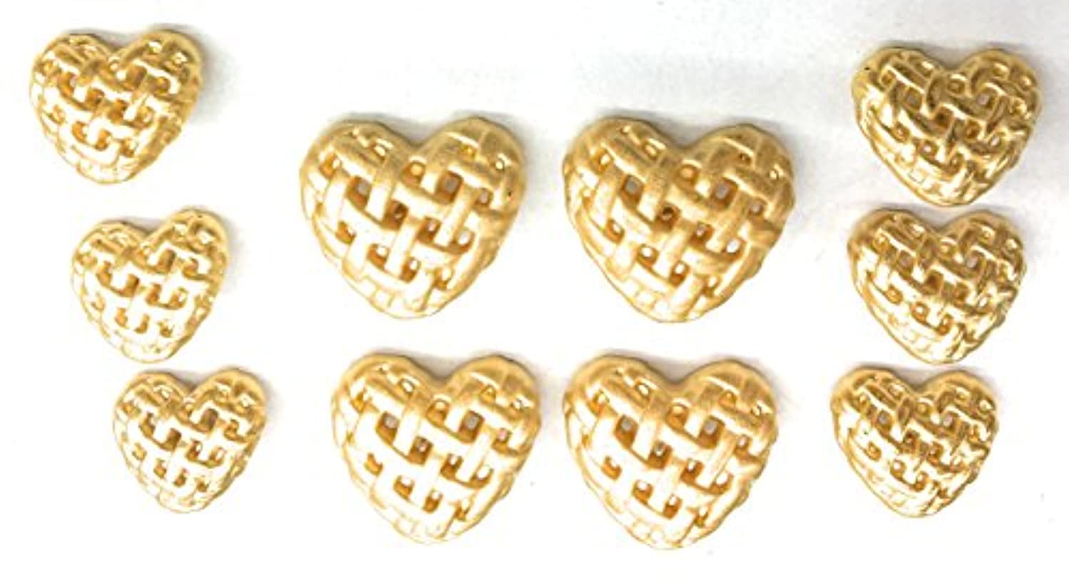 Gold Designer Heart Shape Buttons Sets for Suit & Blazers 10 Pc. (13) elmhmreerrxtty