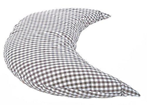 Mond 50cm Das Halbmond Kissen mit EPS-Perlen braun-weiß| kleines Schlafkissen, Reise- Kopfkissen, Kuschelkissen, Lesekissen,