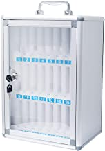 Loghot Aluminum Alloy Pocket Chart Cell Phones Storage Cabinet for Cell Phones,Wall-Mounted with a Locked,Can be Carried by Hand(24 Slots)