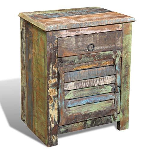 Wealthgirl Gabinete de Madera recuperada de Estilo Antiguo, Mesa Auxiliar Multicolor Estable con 1 cajón, 1 Puerta, Hermosos Muebles para el hogar