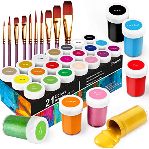 Acrylic Paint Set, Emooqi Set of 31 Acrylic Paint Box Including 21 x 20 ml Tubes+ 10 Brushes, Perfect for Canvas, Wood, Arts and Crafts ,Ideal for Kids, Artist & Hobby Painters