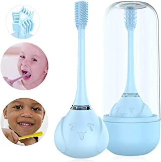 Hamkaw Kids Electric Toothbrushes Rechargeable, [Silicone Brush Head 360 Degree Brushing Teeth] 3 Optional Modes Waterproof Kids Electric Toothbrush with Charging Base for Children 2-8 Years