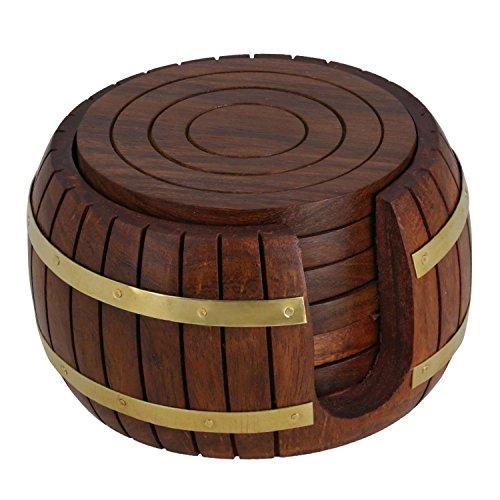 IndiaBigShop Regalo del día del padre conjunto de montañas rusas de madera del té la ronda 6 de antigüedad inspiró barril titular