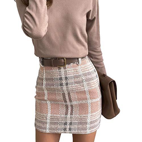 Falda de cuadros para mujer, elegante, para oficina, falda de lápiz, minifalda de cintura alta Rosa. S