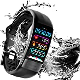 Langguth Fitness, Fitness Tracker, Schrittzähler Uhr IP67 Wasserdicht EKG-Smartwatch mit Pulsmesser Smart Watch für Damen Herren Kinder iOS Android Kompatibel