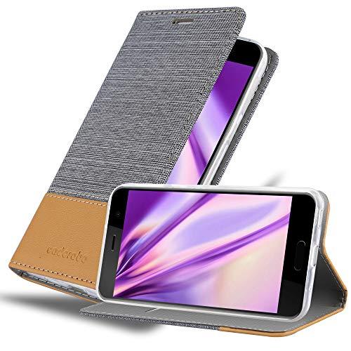 Cadorabo Hülle für HTC U Play - Hülle in HELL GRAU BRAUN – Handyhülle mit Standfunktion & Kartenfach im Stoff Design - Hülle Cover Schutzhülle Etui Tasche Book