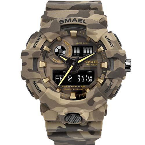 SMAELBand Montre Militaire Camouflage numérique Montre Light S Shock Men Montres de Sport LED imperméables pour Hommes,Kahki