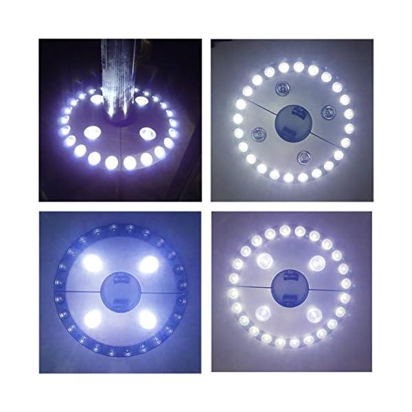 Txian Cordless 28 LED Umbrella Lights 3 Level Dimming Parasol LED Light Umbrella Pole Patio Tents Lighting Pure White… 4