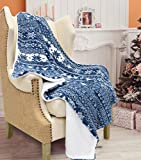 Catalonia Christmas Sherpa Throw Blanket,Super Soft Warm Fuzzy Comfy Snowflake Blankets,Reversible Fluffy Throws,Holiday Theme Blanket (50X60 inches,Blue)