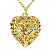 Collar de joyas con colgante de corazón mosaico de oro mosaico de diamantes de imitación estilo de lujo forma buen regalo para el día de san valentín para mujer amante chapado en oro (caja de regalo)