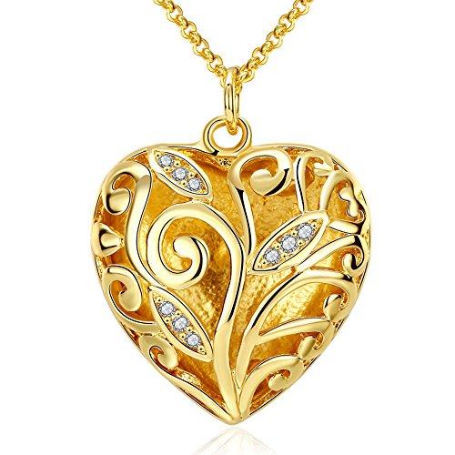 Faysting EU Gioielli Collana con Pendente Cuore Oro Mosaico Strass Bling Stile Luxury Forma Buon Regalo per San Valentino per Donna Amante Placcato in Oro (Confezione Regalo)